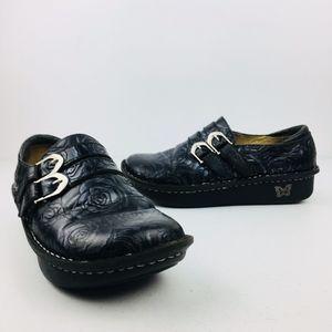 Alegria Alli Tooled Leather Black Rose Clog Shoes